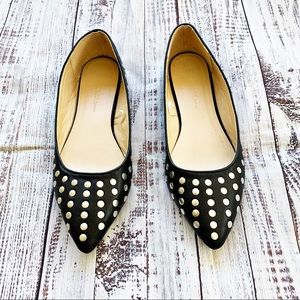 Wild Diva Shoes - Wild Diva Pointed Toe Riveted Ballet Flats
